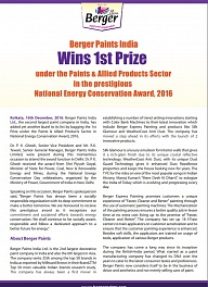 Berger Paints India Wins 1st Prize in NECA, 2016