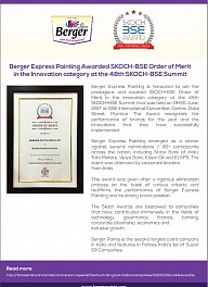 Berger Express Painting Awarded SKOCH-BSE Order of Merit in the Innovation category at the 48th SKOCH-BSE Summittion category at the 48th SKOCH-BSE Summit